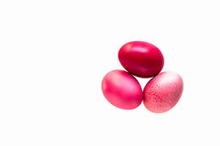三个五颜六色的东部鸡蛋 免版税库存照片