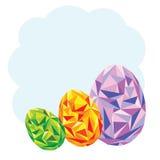 三个五颜六色的时髦几何鸡蛋 库存图片