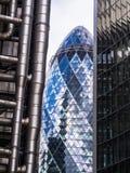 三个伦敦摩天大楼-嫩黄瓜, Lloyds,威利斯修造 免版税图库摄影