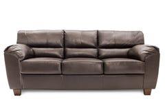 三个位子舒适棕色皮革 免版税库存图片