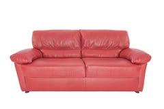 三个位子舒适红色皮革 免版税库存照片