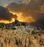 三个元素:天堂、地球和火 免版税库存图片