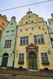 三个兄弟- 17世纪三个中世纪房子复合体在里加,拉脱维亚 免版税图库摄影