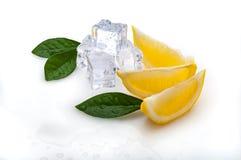三个切片新鲜的柠檬和绿色叶子,冷的冰立方体,在白色背景 在隔离 库存照片