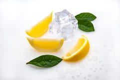 三个切片新鲜的黄色柠檬和绿色叶子,冷的冰立方体,在白色背景 在隔离 库存图片