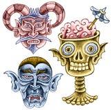 三个动画片幽灵-一个聋恶魔,吸血鬼,头骨 免版税库存图片