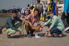 三个印地安男孩 免版税图库摄影