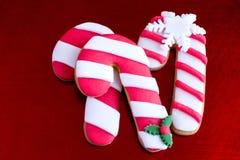 三个可口圣诞节藤茎曲奇饼 免版税库存图片