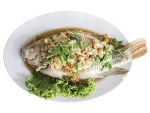 三个味道红色罗非鱼,泰国食物 库存图片