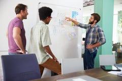 三个商人开创造性的会议在办公室 免版税图库摄影