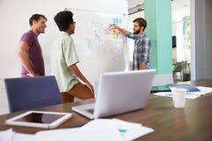 三个商人开创造性的会议在办公室 图库摄影