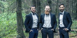 三个商务伙伴画象森林的背景的 免版税图库摄影