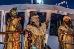 三个圣人到达的公开游行 库存图片