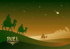 三个圣人在他的诞生以后拜访耶稣基督 免版税图库摄影