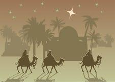 三个圣人在他的诞生以后拜访耶稣基督 库存照片