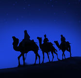 三个圣人骆驼旅行沙漠伯利恒概念 免版税图库摄影