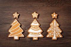 三个圣诞树曲奇饼 库存照片