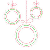 三个圣诞节球五颜六色的背景在线艺术样式的 免版税库存照片
