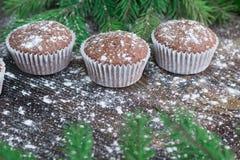 三个圣诞节蛋糕,冬天被雪包围住的木背景,冷杉t 免版税图库摄影