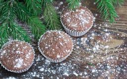 三个圣诞节蛋糕,冬天被雪包围住的木背景,冷杉t 库存照片