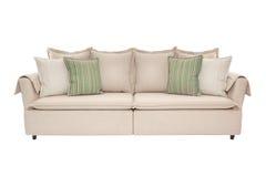 三个在白色隔绝的位子舒适沙发 库存图片