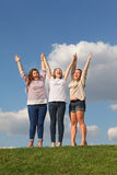 三个在草的愉快的女孩姿势 库存照片