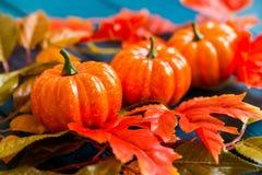 三个塑料南瓜和叶子秋天概念 免版税库存照片