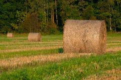 三个大包在对角线的干草 免版税库存图片