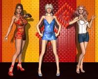 三个女朋友fashionista 库存图片