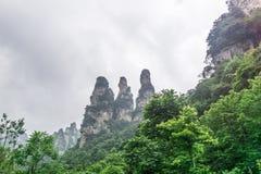 三个姐妹山,武陵源, Yuanjiajie,中国 免版税库存图片