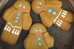 三个姜饼人曲奇饼 库存图片