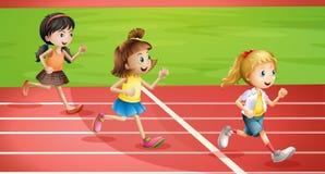 三个孩子跑步 库存例证
