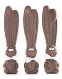 三个巧克力兔宝宝 免版税库存照片