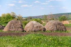 三个干草堆在农村风景的村庄 免版税库存照片