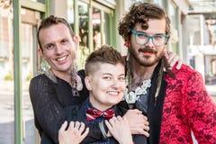 三个性别流体朋友 免版税库存图片