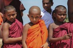 三个斯里兰卡的修士男孩6-8年 库存图片