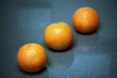 三个新鲜的橘子 免版税库存照片