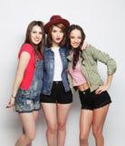 三个时髦的性感的行家女孩最好的朋友 库存照片