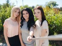 三个朋友夏天selfie在一个绿色公园 库存照片