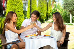 三个朋友庆祝 免版税库存照片