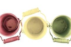 三个桶从上面 免版税库存图片