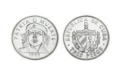 三个比索古巴硬币与车公的面孔的 免版税库存照片