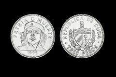 三个比索古巴硬币与车公的面孔的 库存图片