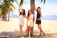 三个深色的亭亭玉立的女孩在海滩赤足站立 库存图片