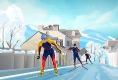 三个滑雪者在冬天 免版税库存图片