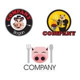 三个猪肉的猪商标 免版税库存图片