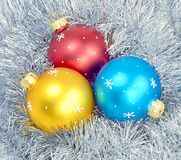 三个球闪亮金属片 免版税图库摄影