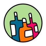 三个瓶手拉的例证五颜六色的略写法 库存例证