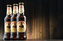 三个瓶Birra Moretti 免版税图库摄影
