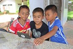 三个男孩观看兴趣在电话 库存图片